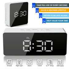 NEW Creative Mirror LED Digital Alarm Clock Night Light Thermometer Display Lamp