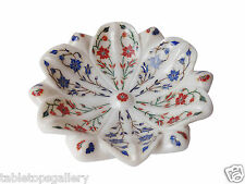 White Marble Fruit Bowl Real Gem Inlaid Mosaic Pietradure Arts Decor Gifts H1324