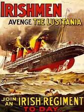 PROPAGANDA WAR WWI UK IRISH MEN LUSITANIA ART PRINT POSTERBB8228B