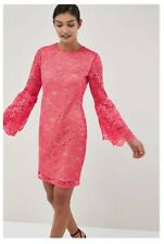 BNWT Next Size 10 Coral/Pink   Lace DRESS, Flute sleeves, £55