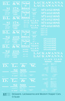 K4 O Decals Delaware, Lackawanna and Western Twin Hopper Car White DL&W