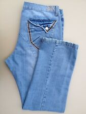 Mens BROOKLYN XPRESS Jeans 40x34 Medium Blue Tobacco Stain Whiskered 100% Cotton