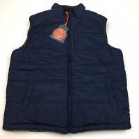 NEW Weatherproof Vintage Men's Plaid Sherpa Reversible Vest Navy Blue