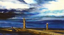 Original Art watercolour pastel painting 'Whitby Harbour' mounted NEW