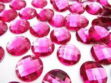 40 Big 20mm Craft Round Rhinestone Jewel/Bead/Bow/Flatback/Fuchsia E62-Hot Pink