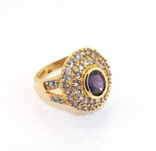 Amethyst Gemstone Fancy Set Ring 10K Solid Yellow Gold Size 6 6.3grams