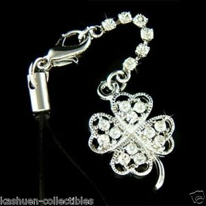 4 Leaf Clover made with Swarovski Crystal St Patricks Day Luck Cell Phone Strap