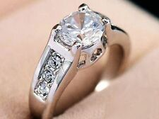 18K White Gold On Silver 2.1 Carat Ideal Cut Simulated Moissanite Ring_Size 7