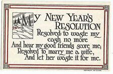 New Year's Resolution #2 Vintage Gilbert Art Postcard