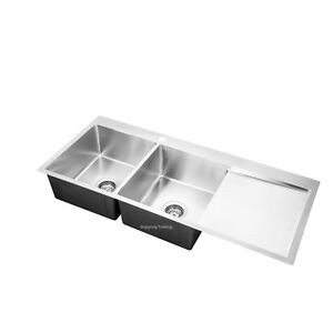 Handmade Stainless Steel Kitchen Sink Double Bowls with Drainer (1140mm x 500mm)