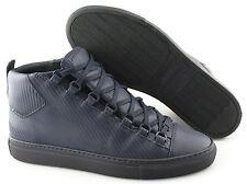 Men's BALENCIAGA 'Carbon-Effect' Navy Blue Leather Sneakers Size US 7 EUR 40