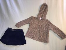 EUC JUICY COUTURE 6 12 MONTHS OUTFIT GOLD NAVY BLUE SWEATER SKIRT