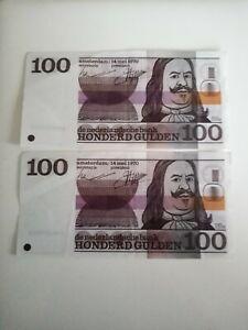 Netherland Vintage Banknotes -2 x 100 Gulden Guilders 1970