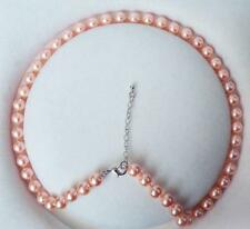 "Pretty 8mm light Pink South Sea Shell Pearl Necklace 18"" LL001"
