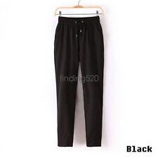 Women Chiffon Harem Long Pants Casual Sport Elastic Waist Drawstring Trousers GW