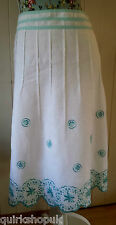 PER UNA white LINEN with aqua blue & turquoise embroidery skirt 12 40 NEW