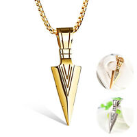 Fashion Men Jewelry Gold Silver Arrow Head Pendant Long Chain Necklace Punk Gift