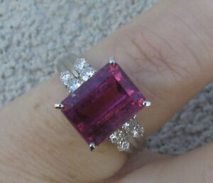 $ 10,800 Natural Vivid Pink Tourmaline  F/VS Diamonds Platinum Ring.