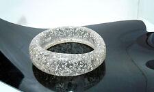 Clear Silver Tone Fashion Bangle Acrylic Plastic Glitter Lucite Bracelet