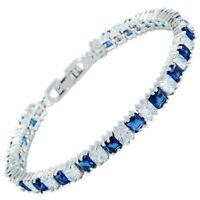 Sarotta Blue Sapphire Zirconia Square Cut 18K White Gold Plated Tennis Bracelet