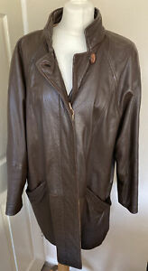 M & S Soft Brown Leather Slouchy Coat - Size 14 100% Lambs Leather
