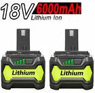 2x 18V 6.0AH Li-ion Battery for RYOBI One+ RB18L25 RB18L50 P108 P107 P104 P780