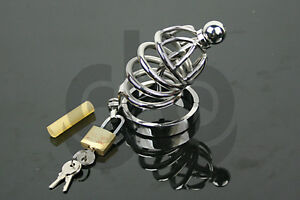 Stainless Steel Male Chastity Cage Device with Urethral Sound/Catheter-metal CBT