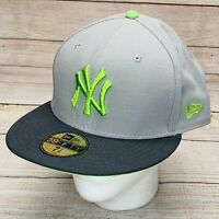 New York Yankees New Era 59FIFTY Grey Neon Green Cap Hat 7 7/8