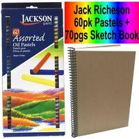 Jackson Paint Artists Soft Oil Pastels + Sketch Book  60 Colours! Sticks Pastel