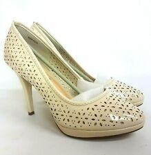 "Sinlys Schuhe Damen Pumps UK 8 EU 41 beige creme Pumps Schuh Lazer Cut 4.25"" Heel"