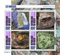 Niger Minerals Stamps 2020 MNH Lazurite Malachite Goethite Columbite 4v M/S