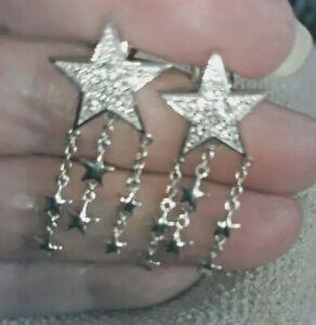 1.21 ctw White Topaz Star Dangle Earrings in Platinum Over Sterling Silver