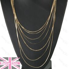 LONG MULTI CHAIN layered BIG NECKLACE liquid chains GOLD/SILVER FASHION drape