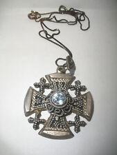 Vintage Jerusalem  Crusader Cross 900 Silver Pendant necklace