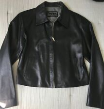 Excellent Vintage Peau D'Ane 90s Look Black Leather Jacket 40 small Cropped Mini