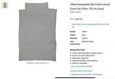 RRP£48 Taftan 100% hydrophilic organic cotton Duvet Cover Set 100 x135cm Grey