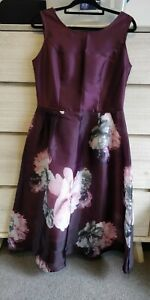 Burgundy Formal Casual Party Dress UK Size 12