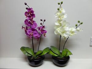 Large Artificial Orchid Plant In A Round Pot Flowers Potted Indoor House Office