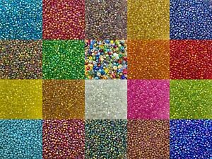 3mm Rainbow glass seed beads 50g pack, size 8/0 approx 1400 beads, choose colour