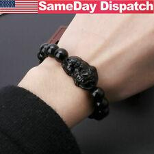Black Feng Shui Beads Stone Wealth Pi Xiu Bracelet Attract Good Luck & Wealth