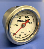 "Marshall Gauge 0-100 psi Fuel Pressure Oil Pressure White 1.5"" Diameter Liquid"