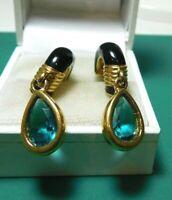 Swarovski Swan Crystal Gold Dangle Blue Topaz Enamel Pierced Hoop Earrings 1c 34