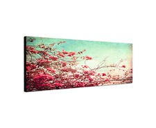 120x40cm Wandbild Leinwand Keilrahmen Panorama Vintage Blumen Sinus Art