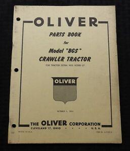 GENUINE 1951 OLIVER MODEL BGS CRAWLER TRACTOR PARTS CATALOG MANUAL NICE