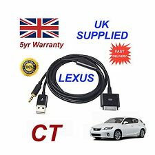 LEXUS CT Audio System iPhone 3GS 4 4S iPod USB & 3.5mm Aux Cable black