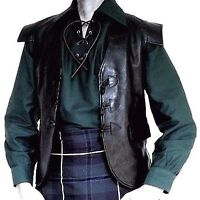 KILT WAISTCOAT BLACK LEATHER 100% SCOTTISH JACOBITE KILT 3 TOGGLE ALL SIZES NEW