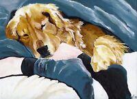 12x16 Golden Retriever Signed Dog Art PRINT of Original Painting by VERN