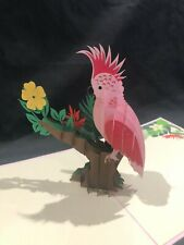 Pink Cockatoo 3D Pop Up Card Greeting Bird Tropical Feather Birthday Anniversary