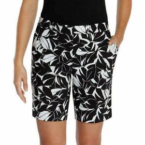 Mario Serrani Women's Tummy Control Comfort Stretch Shorts Black/White Size 10
