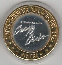Vintage 1993 Riviera Crazy Girls CT Mint .999 Fine Silver $10 Casino Token
